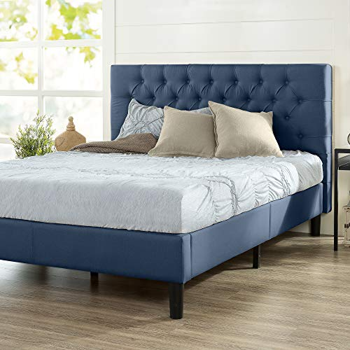 ZINUS Misty Upholstered Platform Bed Frame / Mattress Foundation / Wood Slat Support / No Box Spring Needed / Easy Assembly, Navy, Queen