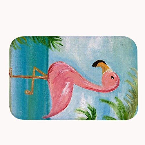 rioengnakg Pink Flamingo by the Sea Badteppich Coral Fleece Bereich Teppich Fußmatte Eingang Teppich Fußmatten für Vorderseite Außen Türen Eintrag Teppich, Korallenvlies, 20
