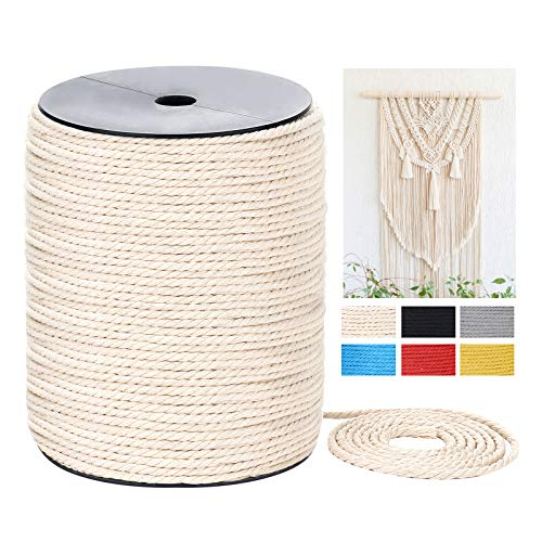 Macrame Cord 3mm x 328Yards Gift Wrapping and Wedding Decorations 3 Strands Twisted Colorful Macrame Cotton Cord for Wall Hanging Yellow Crafts Colored Natural Cotton Macrame Rope Plant Hangers