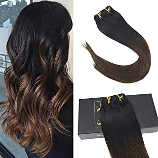 Sunny Ombre Clip on Hair Extensions Double Weft 24 inch Ombre Hair Clip in Extensions Remy Black to Dark Brown Clip in Hair Ombre Human Hair 7 Pcs 120 Gram