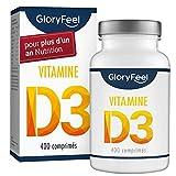 GloryFeel Vitamine D3 1000 IE à haute dose - 400 comprimés pour plus d'un an - Supporte les fonctions des os, des muscles et du système immunitaire