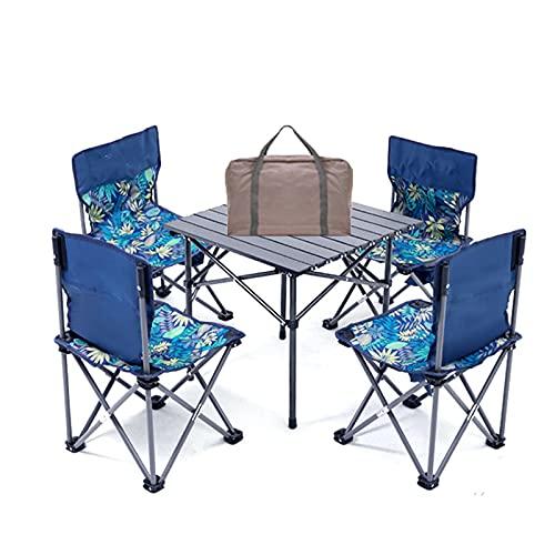 Mesa Camping Conjunto De Mesa Plegable con Sillas, Mesa De Picnic Al Aire Libre Plegable con Rollo De Aleación De Aluminio, Ligero Y Fácil De Almacenar (Color : 4 in 1, Size : 35x39x65cm)
