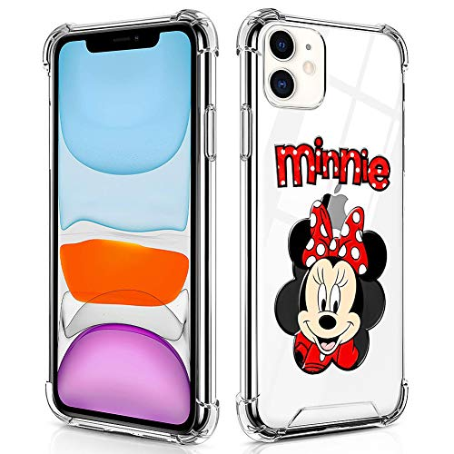 DISNEY COLLECTION iPhone 11 Case Clear 6.1 Inch 2019 Cartoon Character Cute Disney Minnie Mouse Design Hybrid TPU + PC Shock Absorption Anti Scratch Transparent Protective Case for iPhone 11