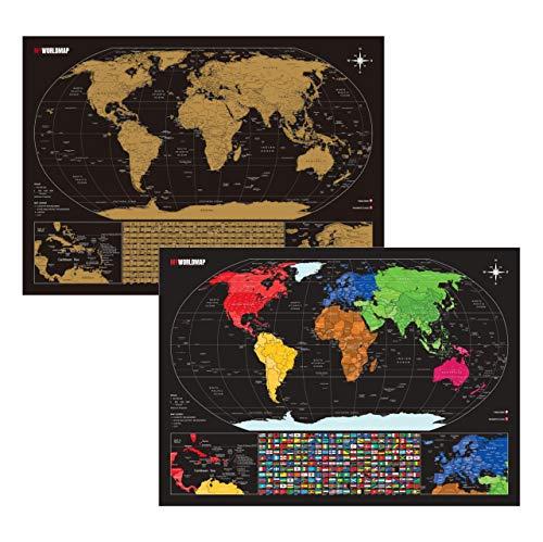 Mapa de Raspadinha Dourado com 3.000 Cidades e 253 Bandeiras - Mapa de Raspar Viagens - Inclui Cartela de Adesivos de Pins - Completo e Atualizado - Scratch Map - A2 60x42
