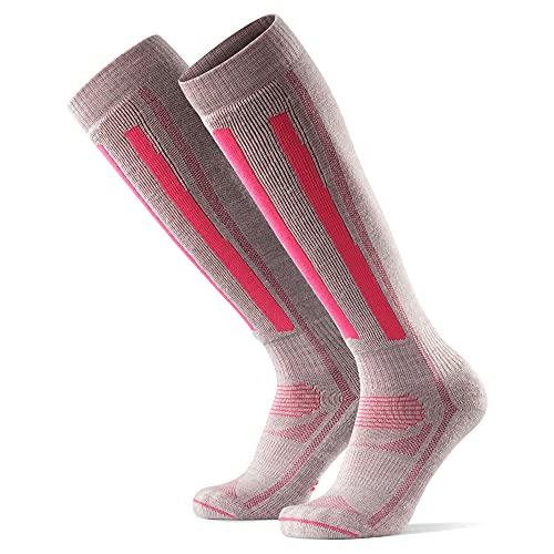 DANISH ENDURANCE Calcetines Térmicos de Esquí de Lana Merino 1 Par (Gris Claro/Rosa, EU 35-38)