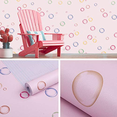 lsaiyy Niño niña Rosa Azul Dormitorio Infantil PVC Pegatinas de Pared Animal de Dibujos Animados Papel Pintado Autoadhesivo Impermeable Papel de Moho- 45CMX10M
