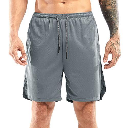 Yidarton Shorts Herren Sport Sommer 2 in 1 Kurze Hosen Schnelltrocknende Laufshorts Fitness Joggen und Training Sporthose mit Taschen (175-Dunkel Grau, Large)