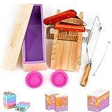 HOTOOLME 9 Stück DIY Seifen Silikonform Set, Verstellbar Holz Seifenschneider DIY Seifenherstellung...