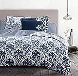 Home Linge Passion - Funda nórdica de 3 Piezas, 100% algodón, 57 Hilos, 2 Personas, 220 x 240 cm, CREVECOEUR HP62689 Azul/Blanco