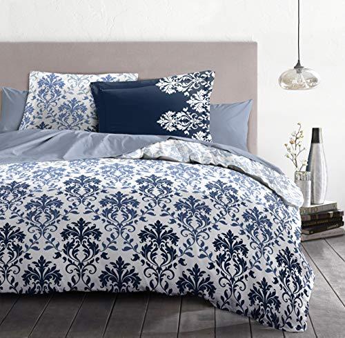 Home Linge Passion, copripiumino – 3 pezzi, 100% cotone – 57 fili, 2 persone, 240 x 260 cm, CREVECOEUR HP62690, blu/bianco