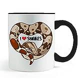 Red Tail Boa Heart Snake Mug- Black Handled Coffee and Tea Mug