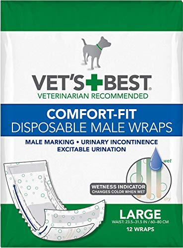 Vet?s Best Comfort Fit Disposable Male Dog Diapers   Absorbent Male Wraps with Leak Proof Fit   Large, 12 Count, 2 Pack