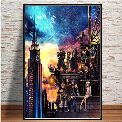 Carteles E Impresiones Kingdom Hearts Videojuego Anime Póster De Dibujos Animados Cuadro Artístico De Pared Pintura En Lienzo para La Decoración del Hogar De La Habitación 40X50Cm Ju-4949