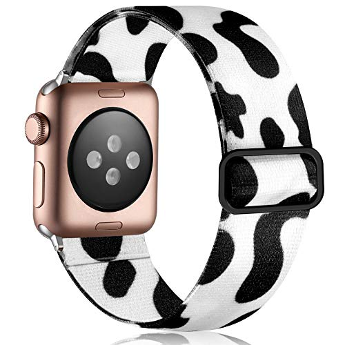 Vcegari Elastic Band Compatible with 40mm Apple Watch SE Series 6 5 4, Breathable Stretchy Loop Wristband for iWatch 38mm Series 3 2 1 Women Girls, Cow