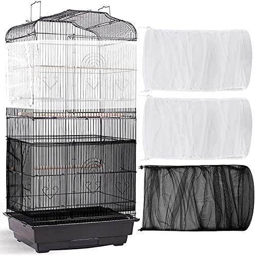 3 Cubiertas Ajustable de Jaula de Pájaros Grande Colector de Plumas Semillas Cubierta de Malla Red Nylon Protector de Falda Suave Aireado (78 x 15 Pulgadas de Circunferencia y Ancho)