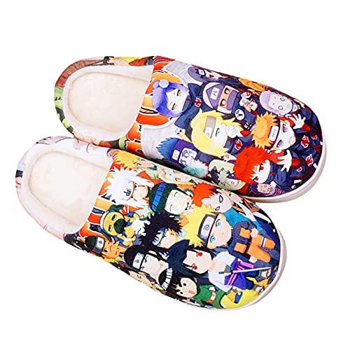 YZJYB Anime Naruto Zuhause Korallenvlies Hausschuhe 3D Drucken Uchiha Sasuke Hautfreundlich Pantoffeln Herren Damen Warm Plüsch Slippers,Schwarz,EU 39~42(280)