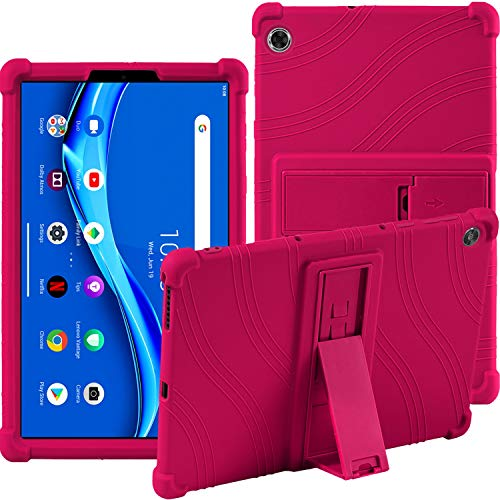 Case for Lenovo Tab M10 FHD Plus (2nd Gen) TB-X606F / TB-X606X 10.3 Inch Tablet Stand Silicone Soft Pouch Shockproof Rubber Shell Protective Cases for Lenovo Tab M10 FHD Plus Tablet (Rose Red)