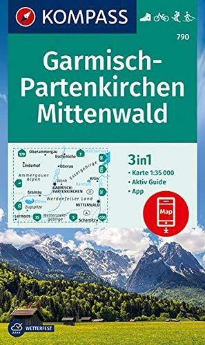 KOMPASS Wanderkarte Garmisch-Partenkirchen, Mittenwald: 3in1 Wanderkarte 1:35000 mit Aktiv Guide inklusive Karte zur offline Verwendung in der ... Skitouren. Langlaufen. (KOMPASS-Wanderkarten)