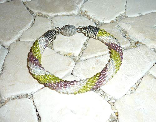 gehäkeltes Armband - amethyst, kristall & grün -