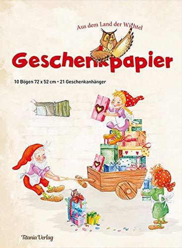 Geschenkpapier - Aus dem Land der Wichtel: 10 Bögen, 72 x 52 cm mit 21 Geschenkanhängern im Set: Geschenke originell verpacken (mit Geschenkanhänger)