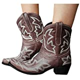 AODONG Cowboy Boots for Women Square Toe Women Cowgirl Boots Ladies Retro Ankle Boots Embroidered Western Short Boots Brown