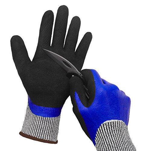 Waterproof Work Gloves, Cut Resistant Liner Safety Gloves, Double Coating Superior Grip Durable for Kitchen Fishing Cleaning Car Mechanic Garden Construction Multi-Purpose.