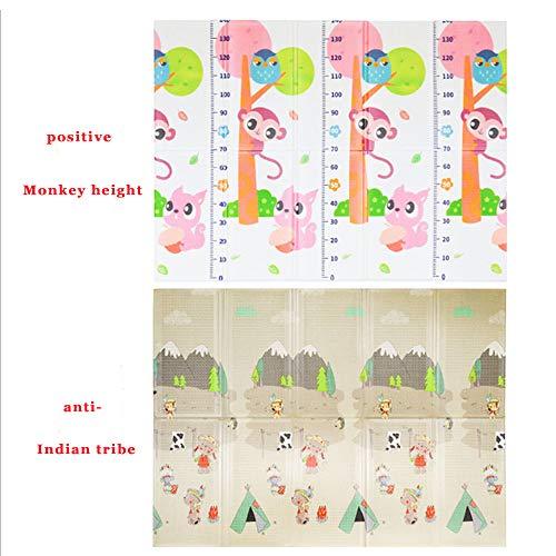 QLHYSYS Baby Kind Meisje kruipen Mat 2 Zijde Kinderen Spelen Fitness Mat Baby Gift - Kinderen kruipen Educatieve Game Pad Game Zachte Bubble Grote Maat Picnic Area (aap/indiaanse stam)