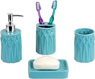 Home Basics Gift & Decorat Beautiful Prism 4 Pcs Ceramic Durable Bath Accessory Set-Decorative Lotion Dispenser/Dish/Tumbler/Toothbrush Holder-Perfect Gift & Decorating Idea (Turquoise)
