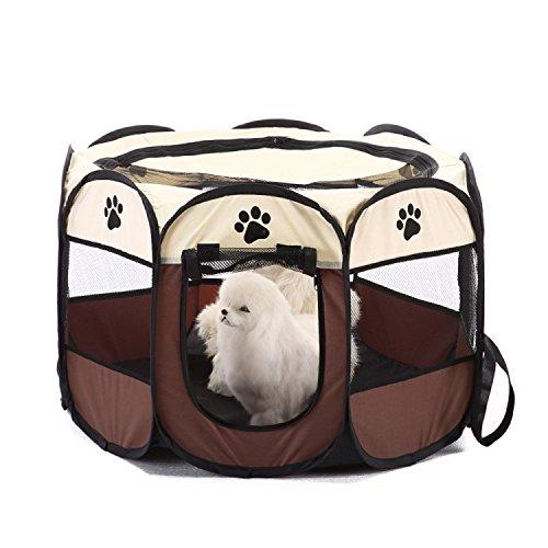 Tineer Portable Pieghevole Pet Cat Cage Cani Canile Tenda da Viaggio Box Pieghevole da Campeggio all'aperto Pet Dog Kennel Crate House (S:72×72×45cm, Marrone)