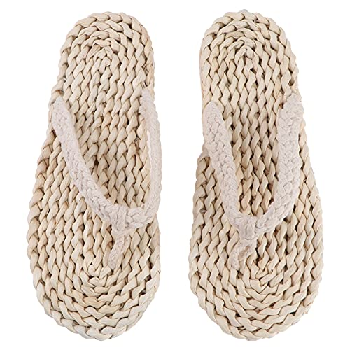 Happyyami Chanclas de Paja Sandalias Zapatos de Cuerda Zapatillas Japonesas Antideslizantes Zapatillas de Playa