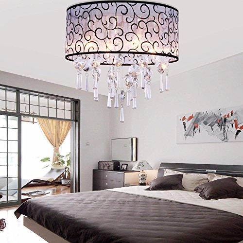 BAJIAN-LI Elegante transparante kristallen kroonluchter met 4 lichten, Drum Flush Mount moderne plafondlamp armatuur voor slaapkamer, woonkamer lamp niet inbegrepen