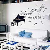 Etiqueta de la pared Piano Negro Tocando Notas Musicales Stave Kids Room Salón Sala de Estudio Música Aula Decoración de Pared Pegatinas de Música