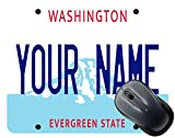 BleuReign(TM) Personalized Custom Name Washington State License Plate Square Mouse Pad