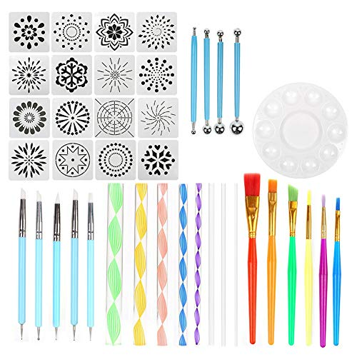 Cuasting 40 Stks Mandala Dotting Tool Set Schilderij Kit Dot Art Pen Paint Stencil Gift
