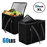 ATS Homz 2 Pack XL Insulated Grocery Bag: Eco Friendly Heavy Duty Foldable Shopping Storage Zipper...