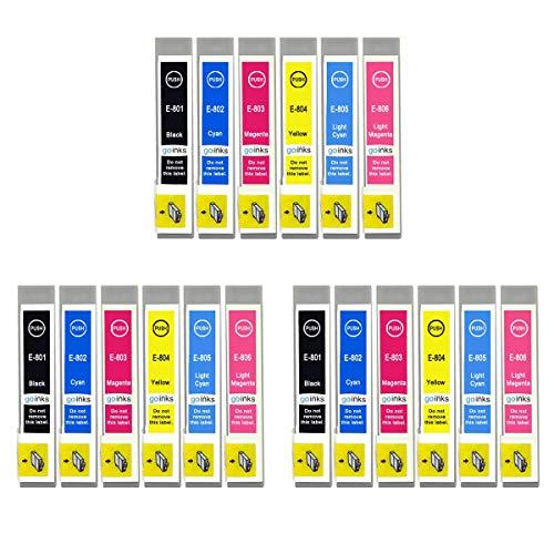 Juego de 6 Cartuchos de Tinta para reemplazar Epson T0807 Compatible/no OEM para impresoras fotográficas Epson Stylus (18 tintas)