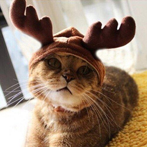 Kungfu Mall - Copricapo natalizio con collare per cani e gatti, a forma di corna di renna