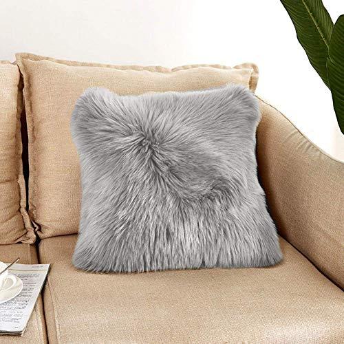 DQMEN Housse de Coussin, Fausse Fourrure Deluxe Décoratif Canapé Chambre Lit Super Doux Peluche Mongolie Taie d'oreiller (Gris, 45 x 45cm)