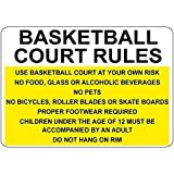 578 Warning Sign Basketball Court Rules at Your Own Risk No Food Glass Road Sign Business Sign 8X12 Inches Aluminum Metal Tin Sign
