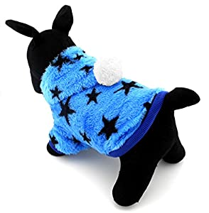 Zunea Pet Apparel Petit Chien Chat Vêtements Costume Polaire étoiles Capuche Manteau d'hiver pour femme Vêtements