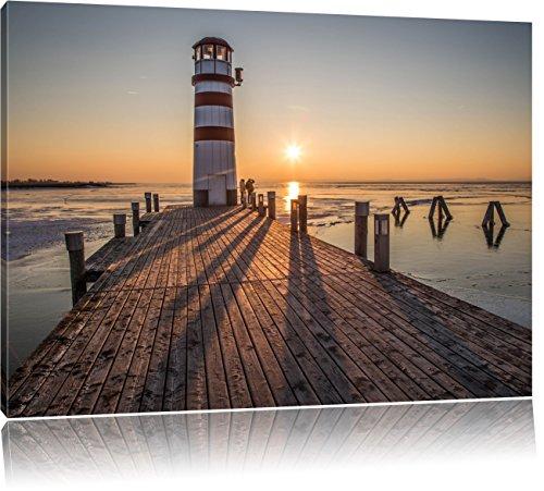 Pixxprint Leuchtturm am Steg im Sonnenuntergang, Format: 120x80 auf Leinwand, riesige Bilder fertig gerahmt mit Keilrahmen, Kunstdruck auf Wandbild mit Rahmen