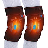 Heated Massage Knee Brace, Adjustable Heated and Massage Knee Heating Pad Thermal Heat Therapy Wrap Hot Compress for Cramps Arthritis Pain Relief Injury Recovery (1 Pair)