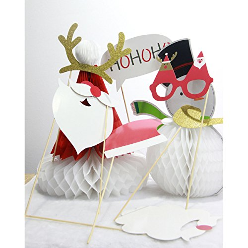 PIXNOR Natale Photo Booth puntelli Kit (con occhiali baffi Deer Horn Santa Hat)