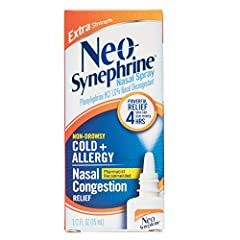 No one knows noses like Neo-Synephrine Pharmacist-recommended Immediate 4 hour nasal congestion relief With the highest level of acive ingredient Adults and children 12 years and older 1.0% Phenylephrine HCl Nasal Decongestant