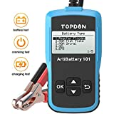 Car Battery Tester 12v Car Battery Load Tester on Cranking Charging System, TOPDON AB101 100-2000 CCA Alternator Analyzer Battery Health on Cars/SUVs/Light Trucks with Flooded AGM GEL Types