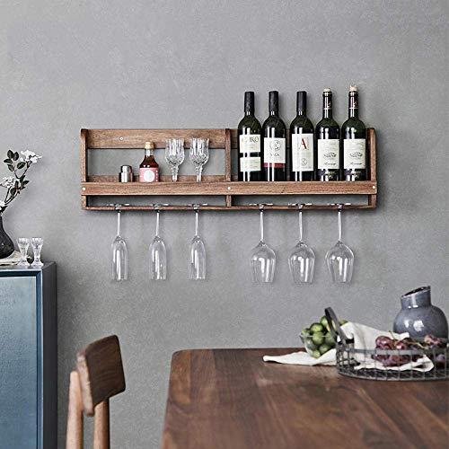 Soul hill Parete Wine Rack casa di Noce Nero di Legno Solido Semplice Mensola Ristorante Hanging Coppa Rack Upside Down-Cellulare Black Walnut Singolo (Color : Black Walnut Double Grid)