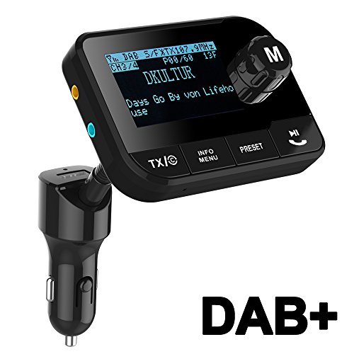 Blufree Car DAB+ Digital Radio Adapter FM Transmitter, Tragbar DAB Autoradio Bluetooth Freisprecheinrichtung MP3-Receiver mit 2,3 Zoll LCD-Display/Kfz-Ladegerät/SD-Karte/AUX/DAB Digital Crystal Sound