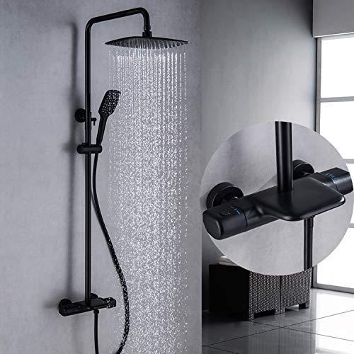 HPDOM 38 ℃ Sistema de Ducha termostático Squre Mixer Bar Juego de Ducha con Ducha de Lluvia y Ducha de Mano Sistema de Ducha de Pared de 3 Funciones Ducha Ajustable
