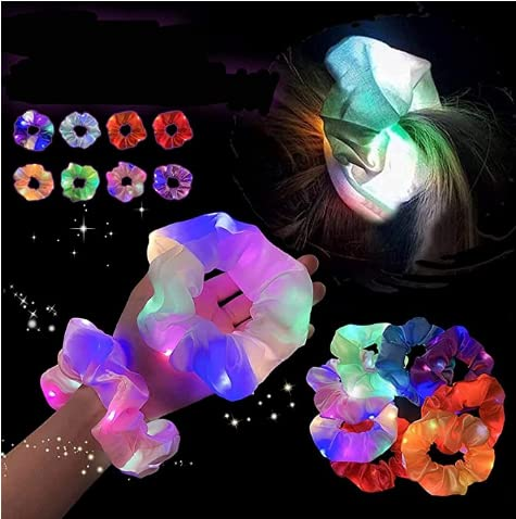 LED Light Hair Scrunchies,Glowing Elastic Hairband for Girls,Multiple Light Modes Hair Ties Clips Accessories for Women, Birthday Gift Party Christmas Halloween Headwear Xmas Gift