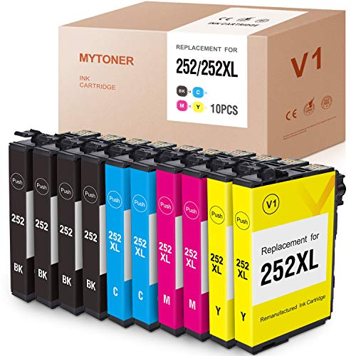 MYTONER Remanufactured Ink Cartridge Replacement for Epson 252XL 252 XL 252 Ink for Workforce WF-7710 WF-7720 WF-3620 WF-3640 WF-7610 WF-7620 WF-3630 Printer(4-Black 2-Cyan Magenta Yellow,10-Pack)